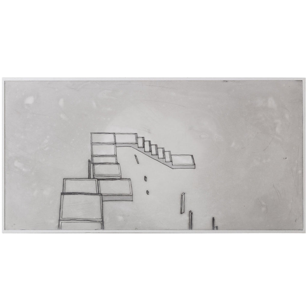 bec stevens print on plaster: inventory #1 staircases, ladders and bridges ascot Ave, sandy bay, hobart