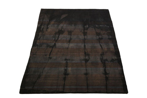 hand woven flat-weave dhurrie style carpet grey/black with tie dye
