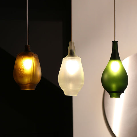 up cycled glass bottle pendant lights