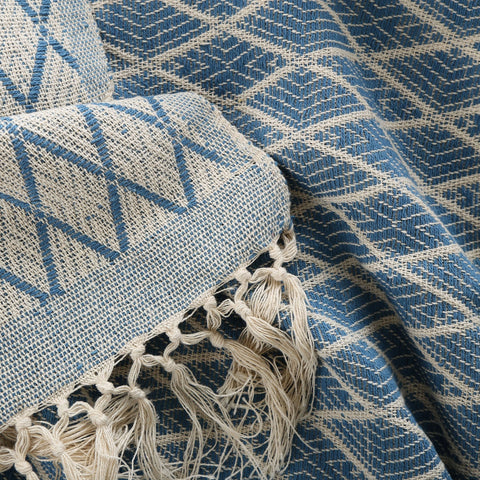 hand woven cotton blanket in blue size: 270 x 220cm gentle wash less than 40°