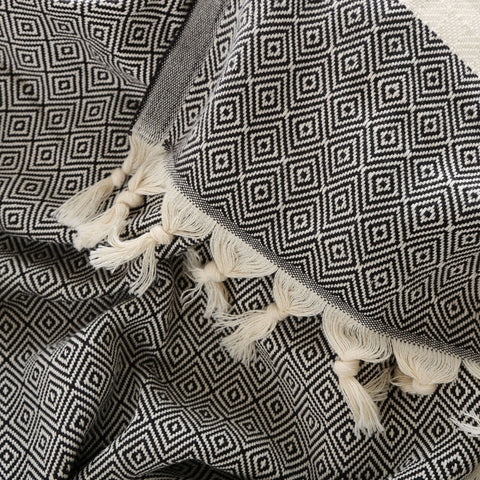 pure agean cotton luxe ebony throw with tassels