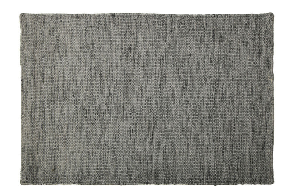 flat weave mat wool dove gray