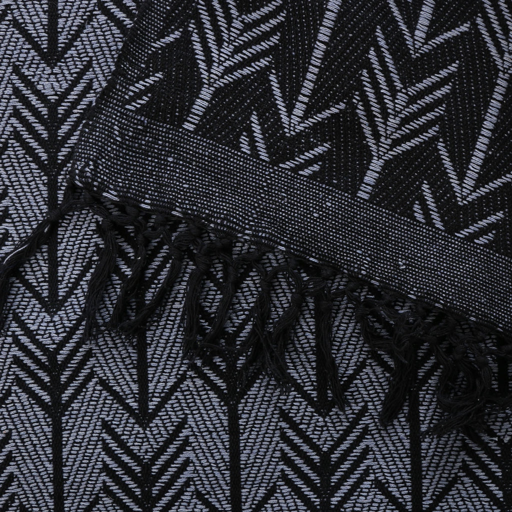 hand woven cotton blanket in black size: 270 x 220cm gentle wash less than 40°