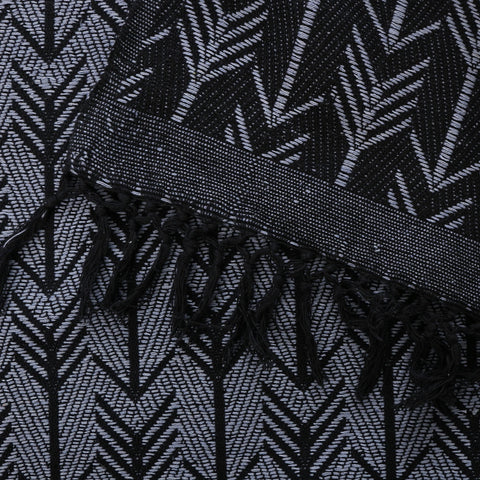 hand woven cotton blanket in black size: 270 x 220cm gentle wash less than 40°