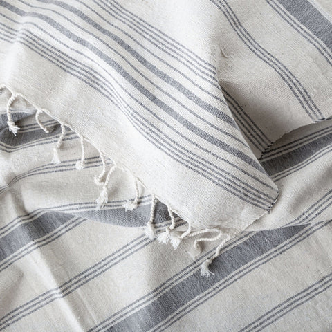 hand spun hand woven cotton towel - grey stripe