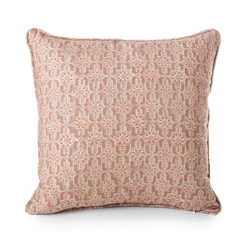 block printed fez guava linen cushion 50 x 50 cm