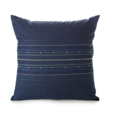 hand embroidered cotton cushion cover - tamil nadu - handwash in lukewarm water - blue line design