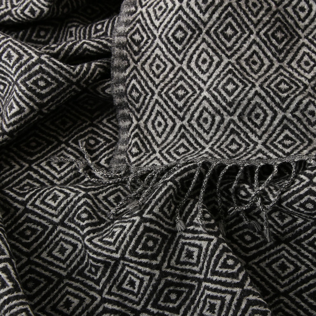 black and white diamond boiled wool throw