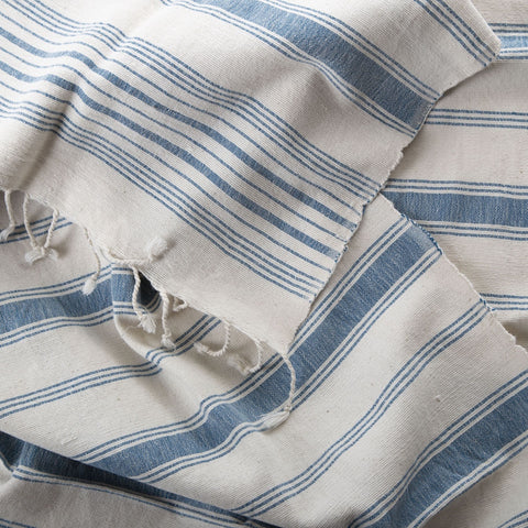 hand spun hand woven cotton towel - blue stripe