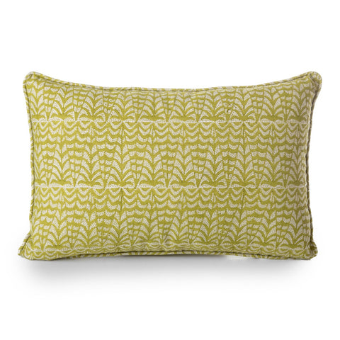 block printed panarea pista linen cushion 35 x 55 cm
