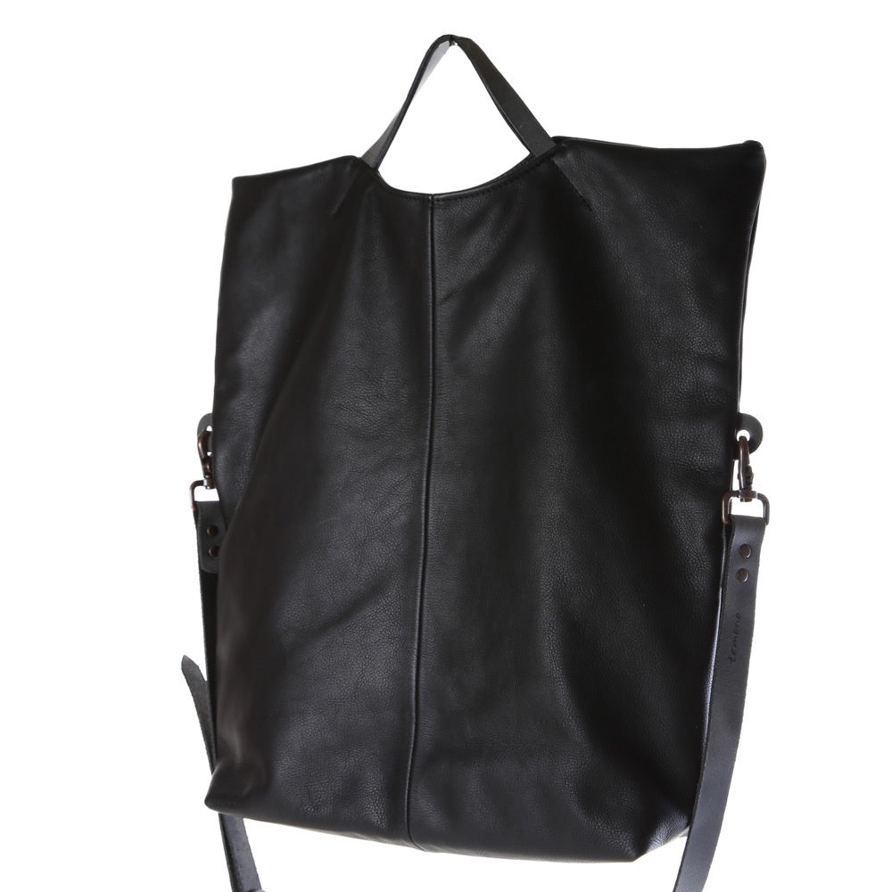 toppy leather bag-large black