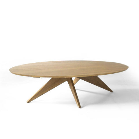 large and low elliptical coffee table