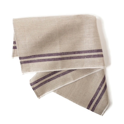 tea towels natural flax & indigo border 50x80cm
