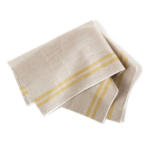 tea towel netural bronze stripes
