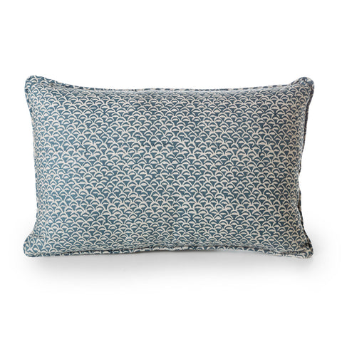 block printed moro pacific blue linen cushion 35 x 55 cm