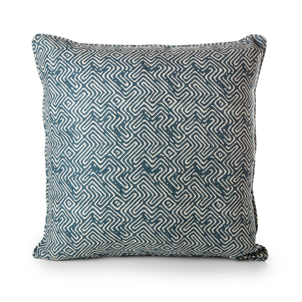 block printed pacific blue linen cushion  50 x 50 cm