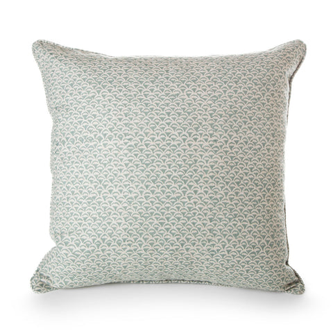 block printed moro celadon linen cushion 55x 55 cm