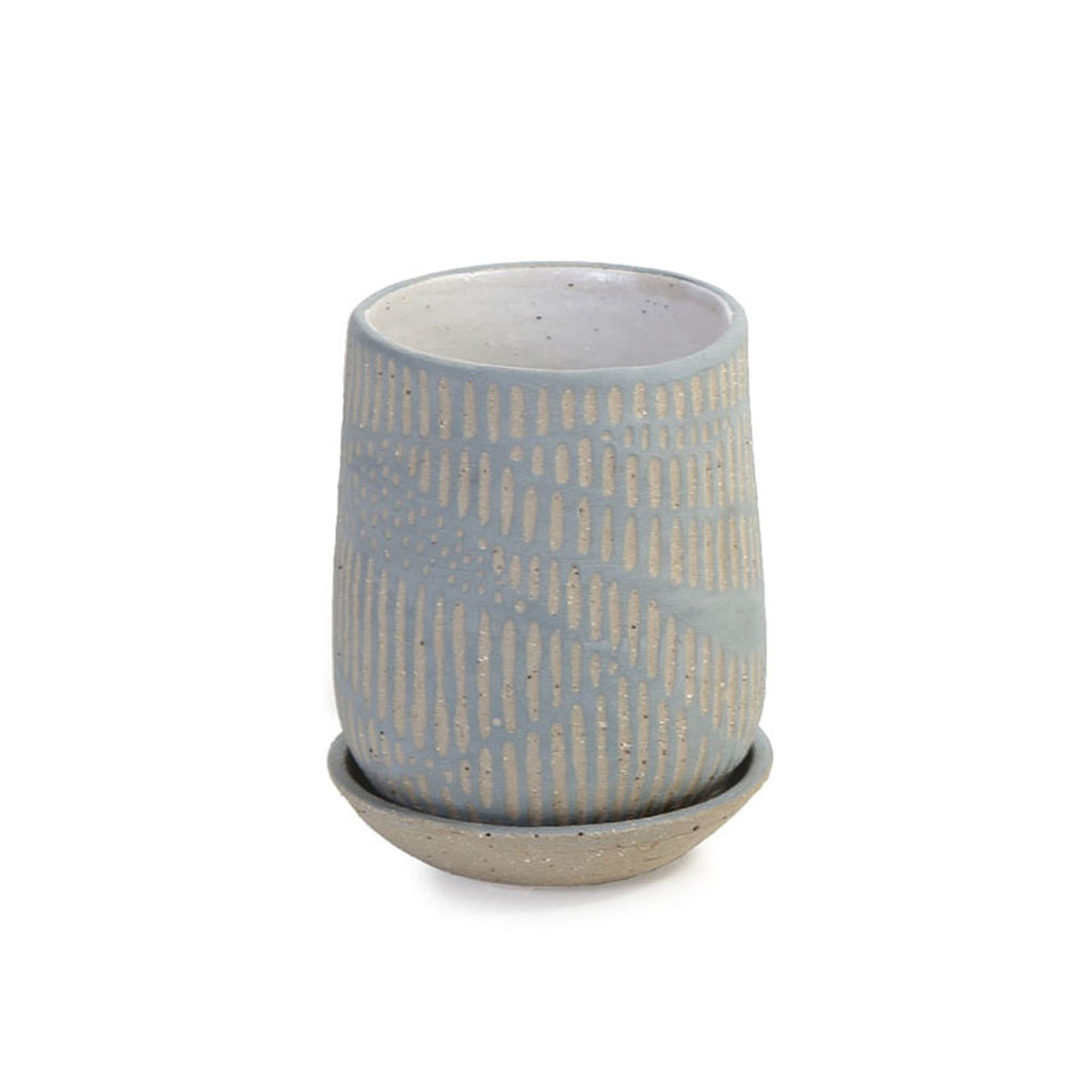 gabi parke - hand thrown planter with saucer - fluted exterior