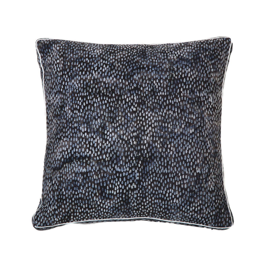 batik cotton double oxford cushion - indigo rain