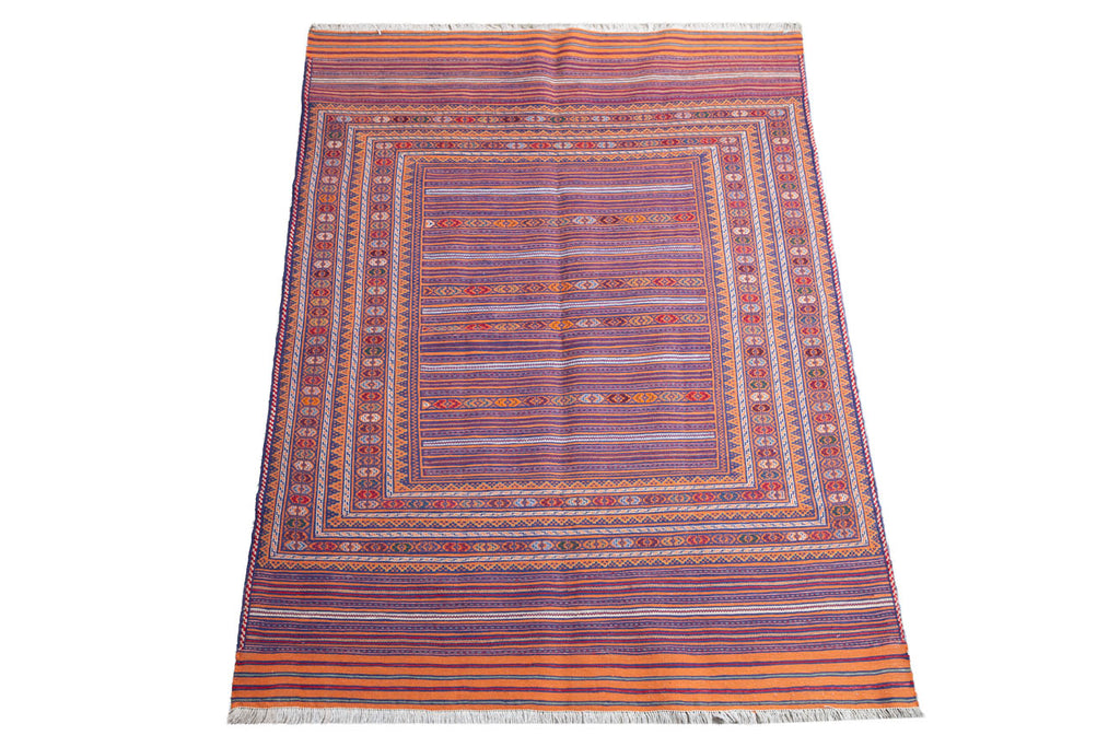 afghan wool on cotton handwoven vintage 182 x 142cm