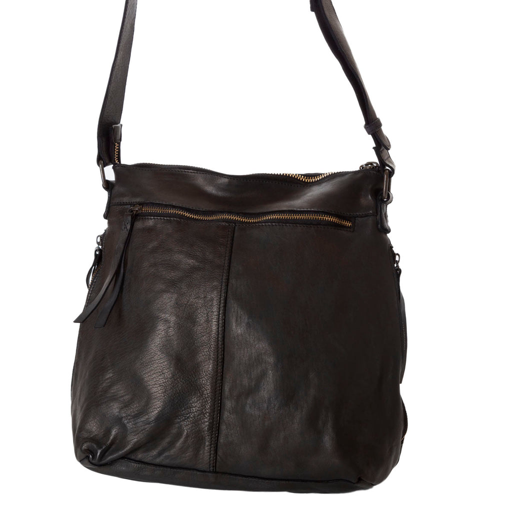 leather black slouchy tote bag