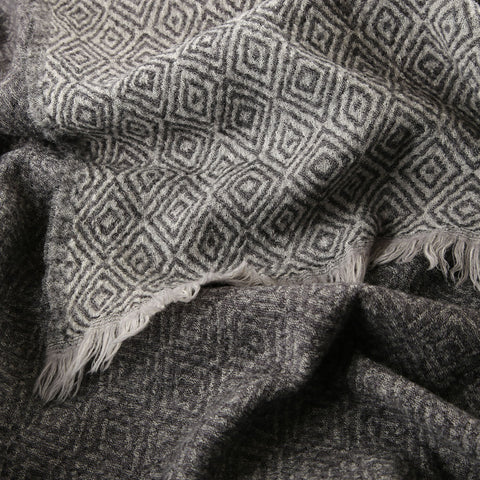 grey with black diamond boiled wool throw