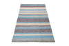 flat weave wool and jute carpet stripe blue