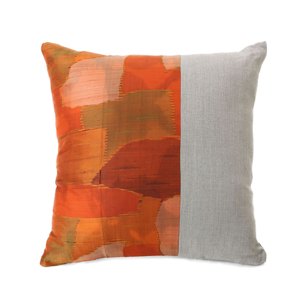 planet silk & linen cushion with feather & foam insert