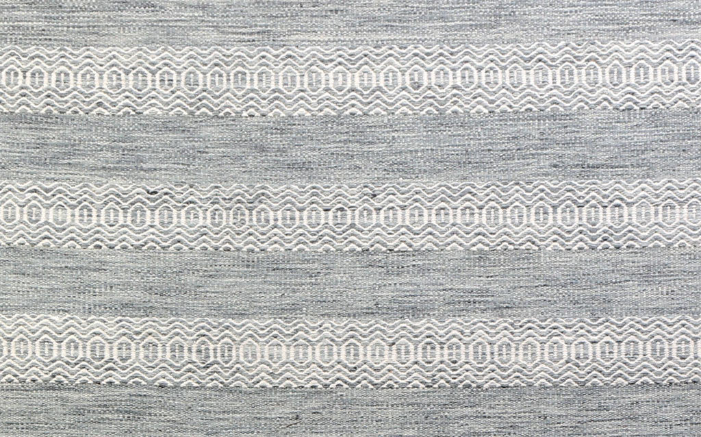 hand-woven flat-weave dhurrie style grey stripe carpet