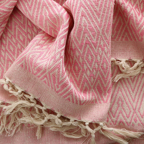 hand woven cotton blanket in pink size: 270 x 220cm gentle wash less than 40°