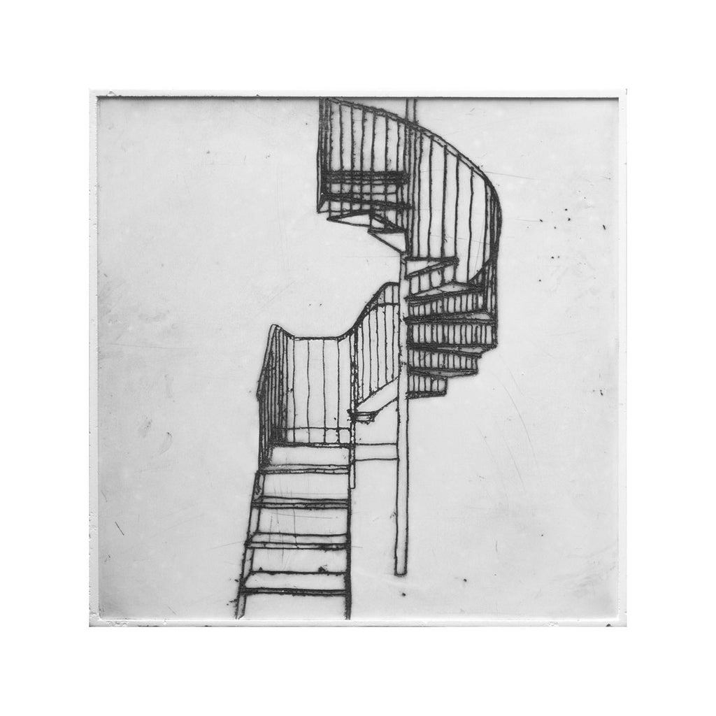 bec stevens - BS#57 - staircases, ladders & bridges. rooftop stair, main road, moonah