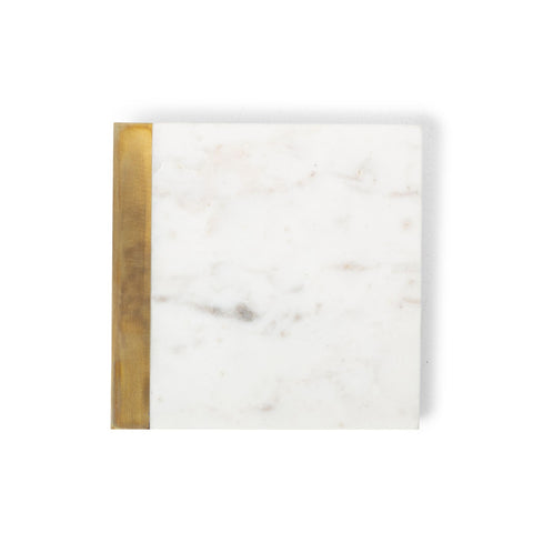 white marble coaster with brass edge