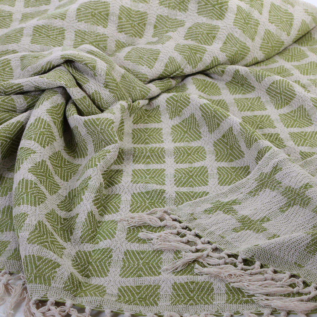 hand woven 100% cotton blanket lime green: 270 x 220cm gentle wash less than 40°