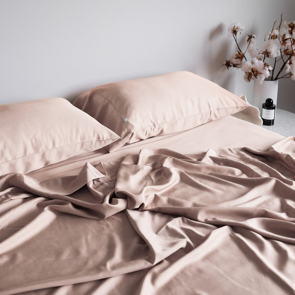 100% organic bamboo bedding blush
