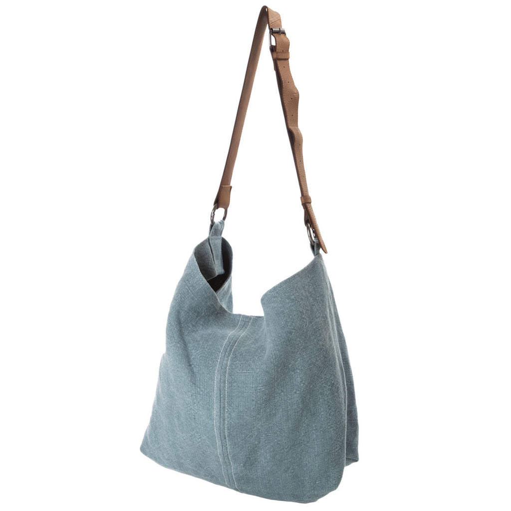 slouchy jute bag with leather handle - french blue