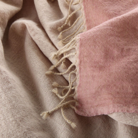 pink/cream boiled wool throw