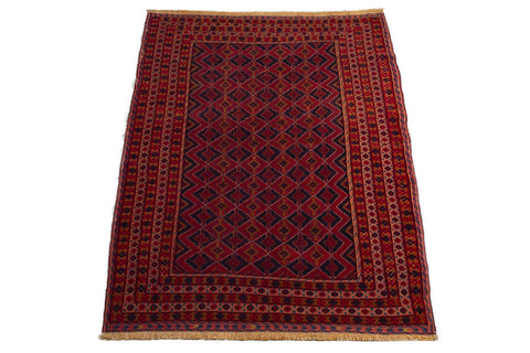 afghan wool on cotton hand knotted vintage   202 x 158cm