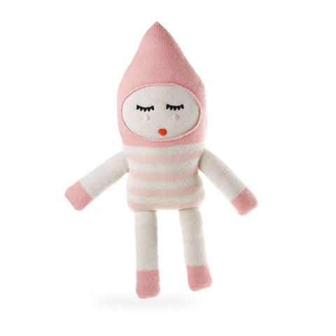 knitted alpaca toy, pink stripe with hoodie