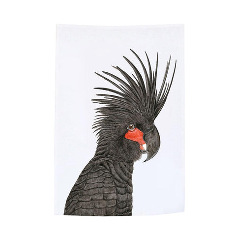 palm cockatoo tea towel