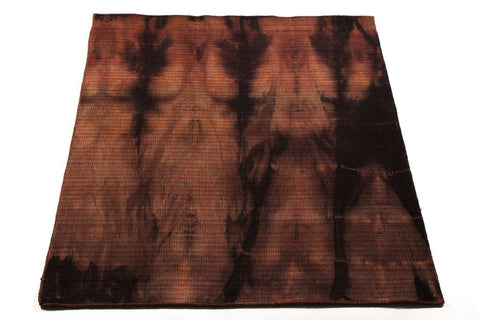 tie dye plush-pile plum coloured wool carpet, handwoven