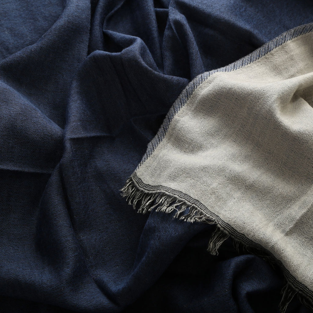 navy/stone grey boiled wool throw