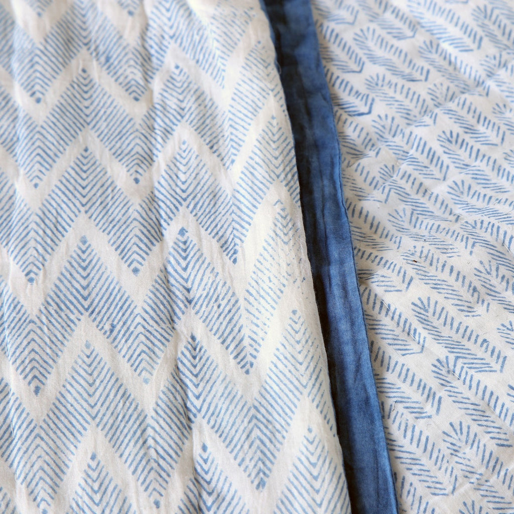 bedcover - cotton block print - blue fern