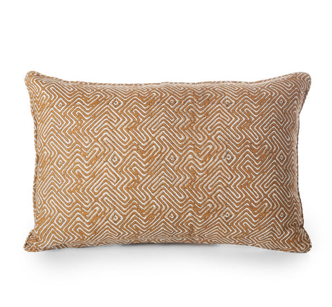 block printed khotan rust linen cushion 35 x 55 cm