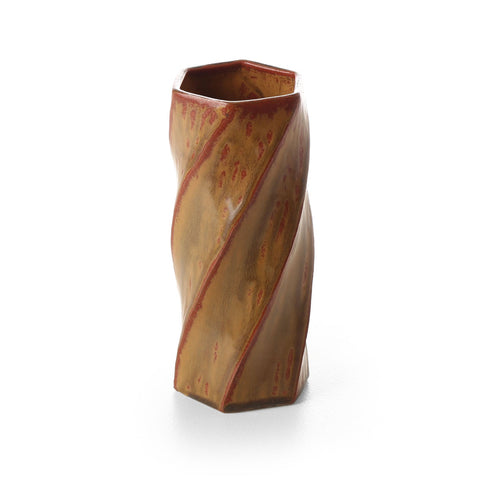 terunobu hirata - twisted facetted iron red mat vase