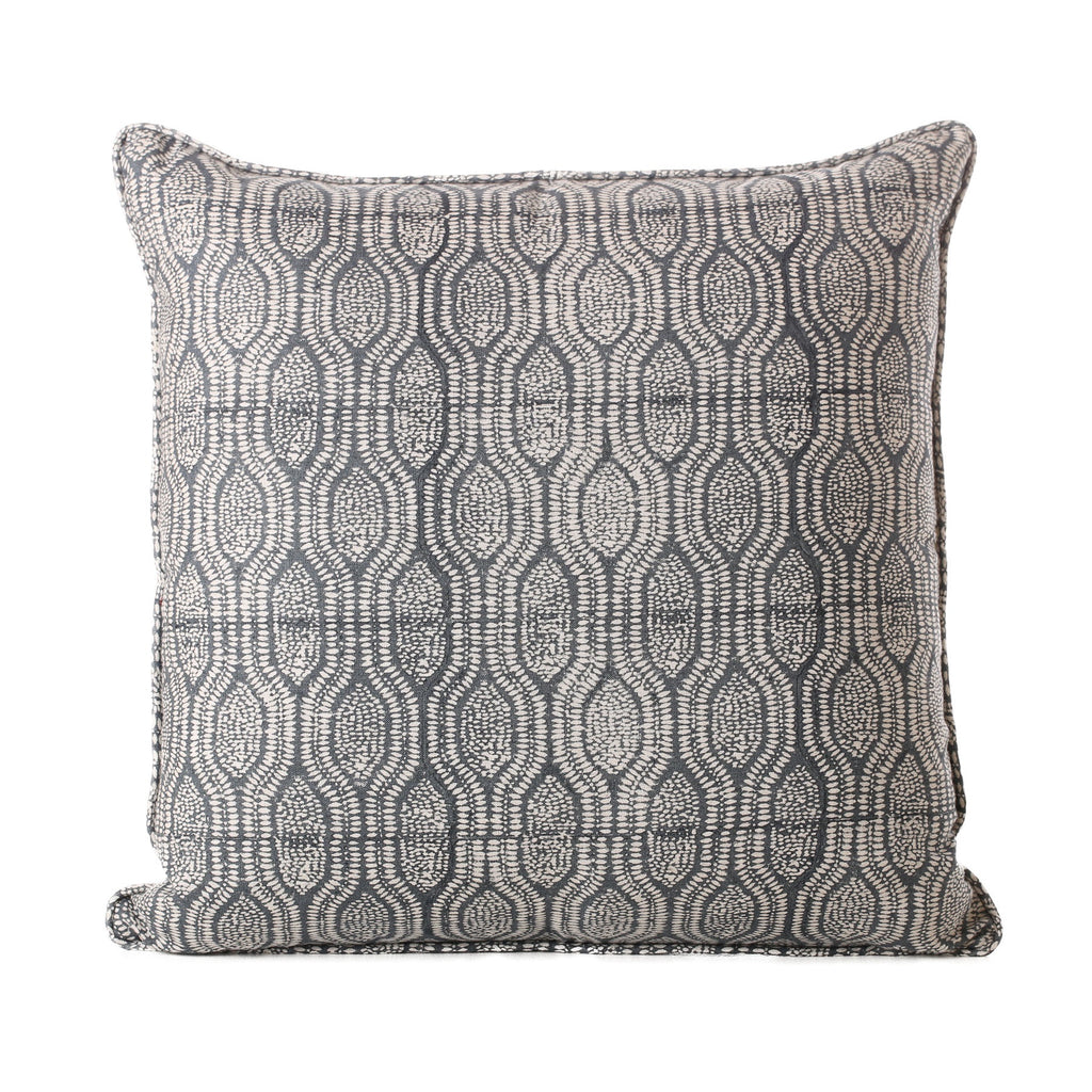 blockprinted linen cushion - pomelo slate 1x qty