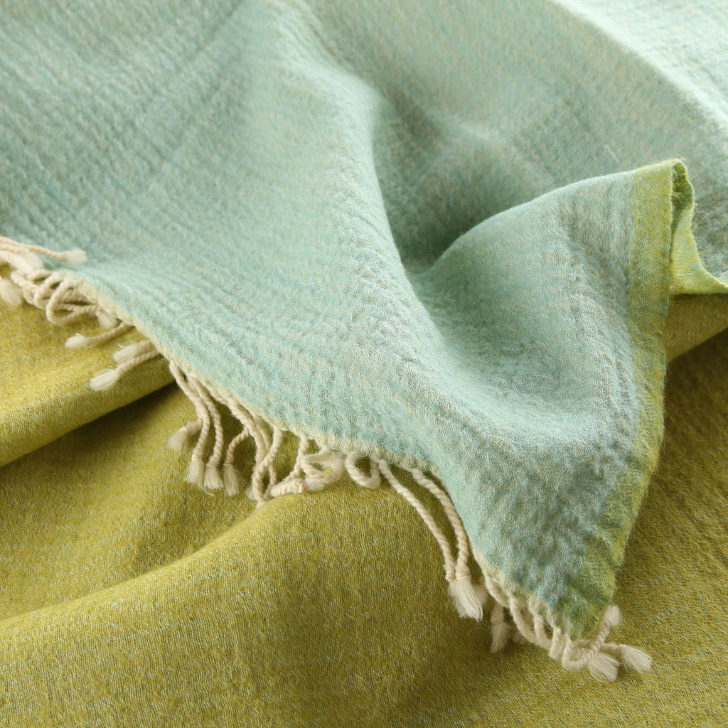 lime green/duck egg blue boiled wool throw