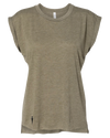 FLOWY MUSCLE OLIVE T-SHIRT W/ ROLLED CUFF | WOMEN | LWBJ TOPS