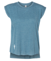FLOWY MUSCLE DUST BLUE T-SHIRT W/ ROLLED CUFF | WOMEN | LWBJ TOPS
