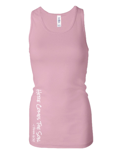 SHEER MINI RIBBED LONG RACERBACK PINK TANK TOP | WOMEN | LWBJ TOPS
