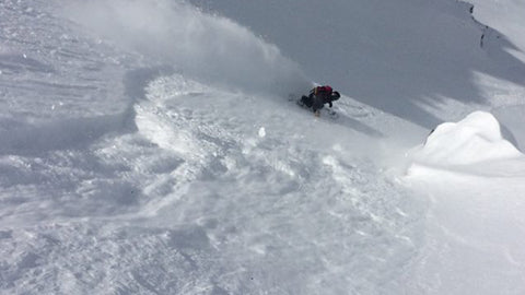 Anne Fred slashing in the backcountry